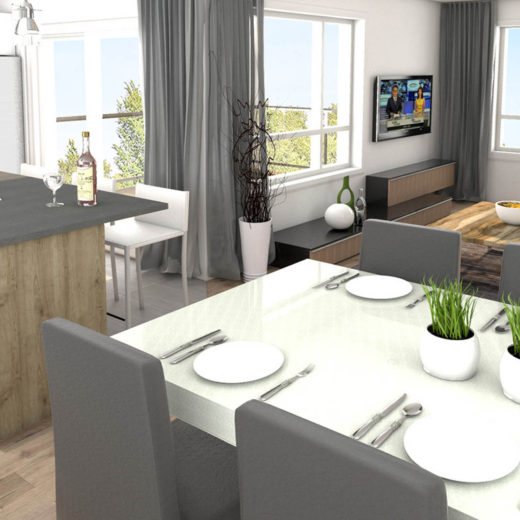 Logement C - SAM - Cuisine - Salon
